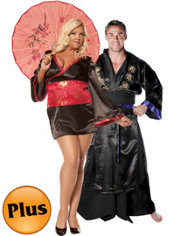 Plus Size Geisha and Plus Size Samurai Warrior Couples Costumes
