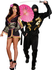Geisha Glam and Black Dragon Ninja Couples Costumes