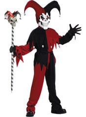 Boys Black and Red Evil Jester Costume