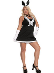 Adult Black Tie Bunny Costume Plus Size
