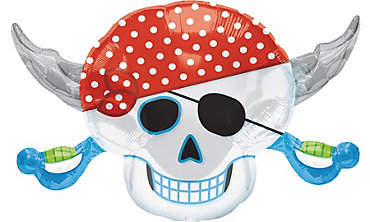 Foil Skull & Crossbones Birthday Balloon 28in