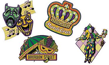 Classic Mardi Gras Cutouts 4ct