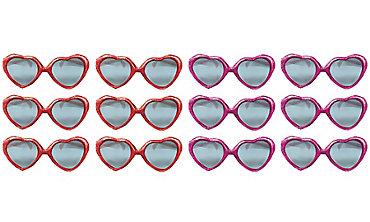 Glitter Heart Valentine Sunglasses 12ct