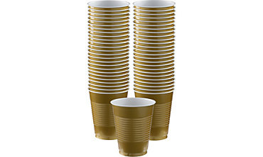 Gold Plastic Cups 16oz 50ct