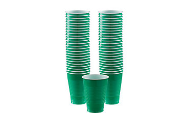 BOGO Festive Green Plastic Cups 12oz 50ct