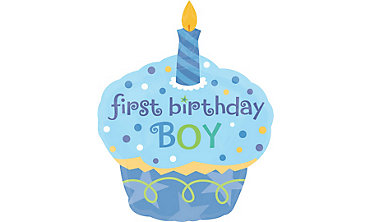 Foil Cupcake Boy Balloon 29in x 36in