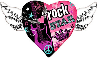 Foil Rocker Girl Heart Balloon 33in x 23in