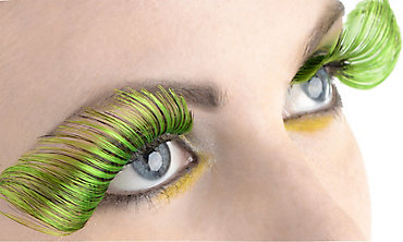 Curled Green False Eyelashes
