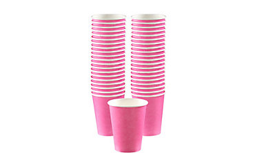 BOGO Bright Pink Paper Coffee Cups 40ct