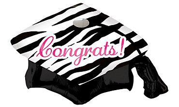 Foil Zebra Graduation Cap Balloon