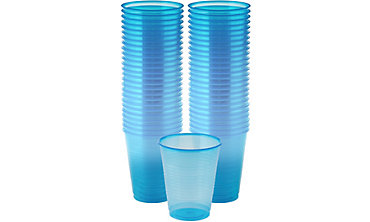 Black Light Neon Blue Plastic Cups 50ct