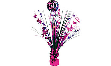 Prismatic 50th Birthday Spray Centerpiece - Pink Sparkling Celebration