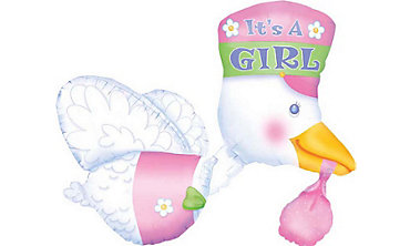 Foil It's a Girl Stork Baby Shower Balloon 32in