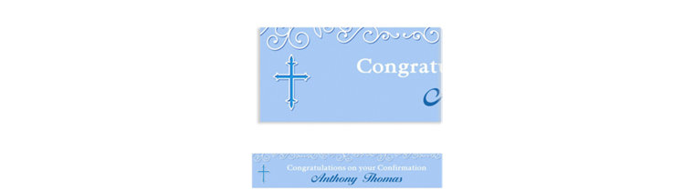 Custom Filigree & Cross Blue Banner
