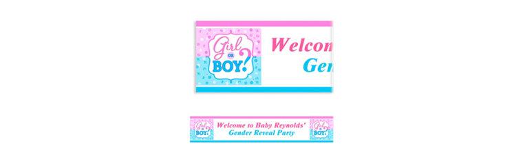 Custom Girl or Boy Gender Reveal Banner