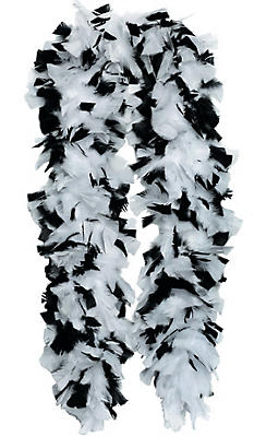 Black and White Feather Boa Deluxe 72in