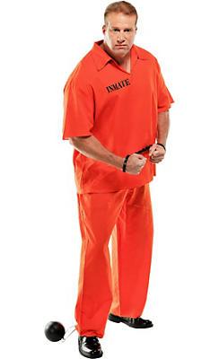 Adult Inmate Convict Prisoner Costume Plus Size
