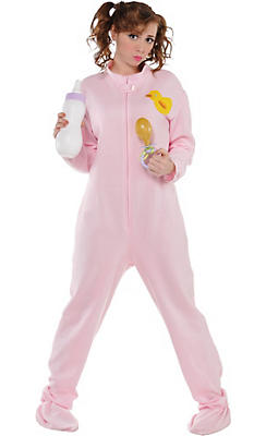Adult Pink Footie Pajamas Costume