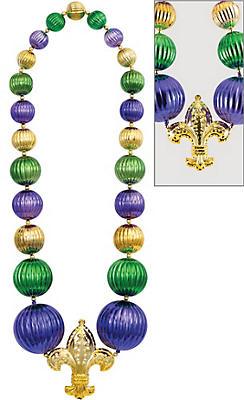 Giant Fleur-de-Lis Mardi Gras Bead Necklace
