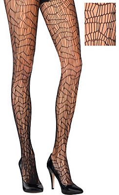 Black Distressed Net Pantyhose
