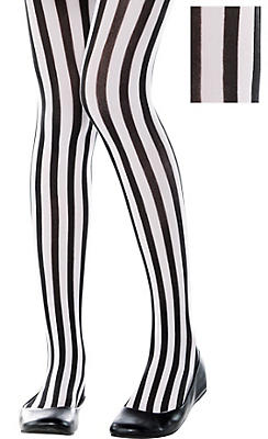 Child Black & White Vertical Striped Tights