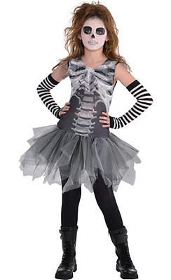 Child Skeleton Tutu Dress - Black & Bone