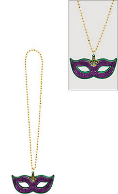 Masquerade Mask Mardi Gras Pendant Bead Necklace