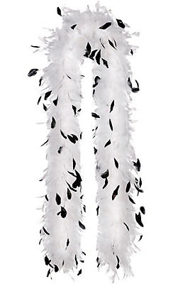 White & Black Speckled Feather Boa