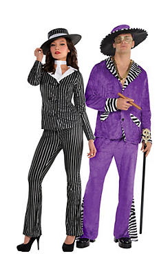 Adult Mob Wife & Mob Boss Couples Costumes