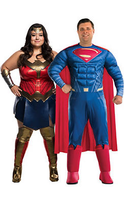 Adult Wonder Woman & Superman Couples Costumes Plus Size - Batman v Superman: Dawn of Justice