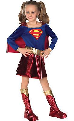 Girls Supergirl Costume Deluxe - Superman