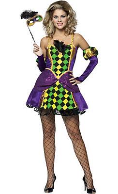 Adult Mardi Gras Harlequin Queen Costume