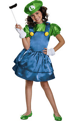 Girls Miss Luigi Costume - Super Mario Brothers
