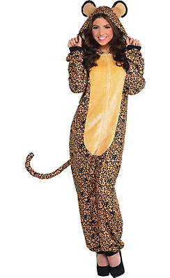 Adult Zipster Leopard One-Piece Pajama Costume
