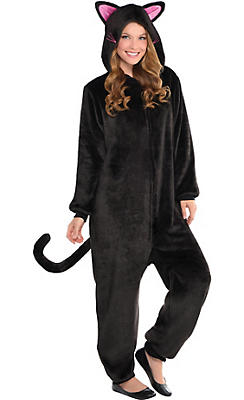 Adult Zipster Black Cat One Piece Costume