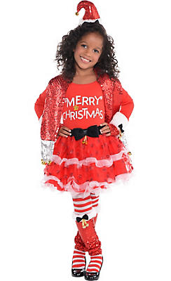 Girls Candy Cane Christmas Costume Deluxe