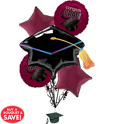 Foil Berry Graduation Balloon Bouquet 6pc