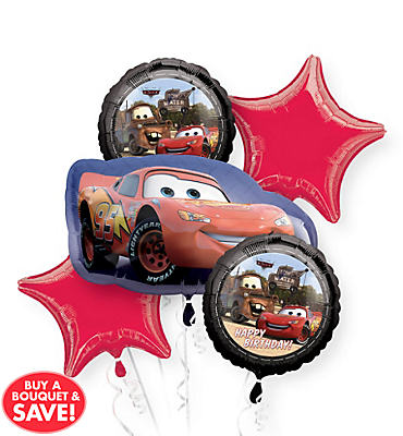 Cars Balloon Bouquet 5pc - Lightning McQueen