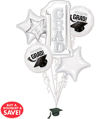Foil White #1 Grad Graduation Balloon Bouquet 5pc