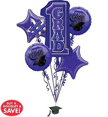 Foil Purple #1 Grad Graduation Balloon Bouquet 5pc