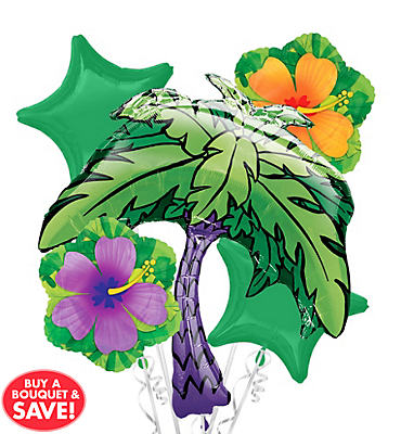 Foil Palm Tree Balloon Bouquet 5pc