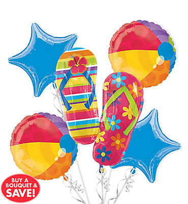 Foil Flip Flop Balloon Bouquet 5pc