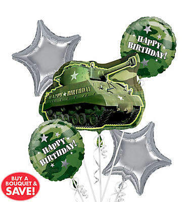 Foil Camouflage Balloon Bouquet 5pc