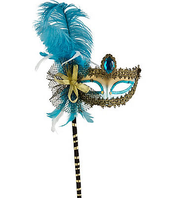 Turquoise and Black Feather Mask with Handle