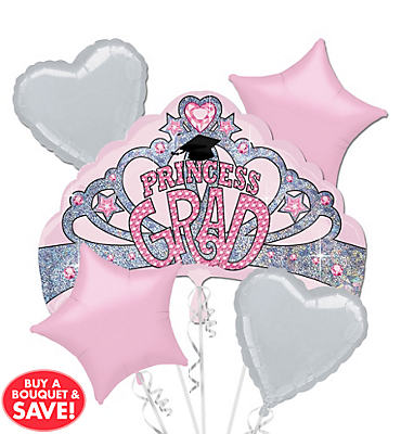Foil Princess Grad Graduation Balloon Bouquet 5pc