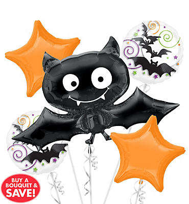 Bat Halloween Balloon Bouquet 5pc