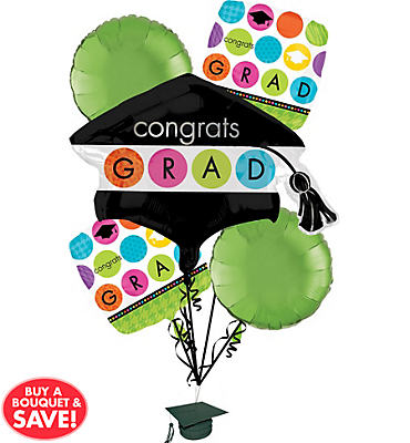 Foil Colorful Commencement Graduation Balloon Bouquet 6pc