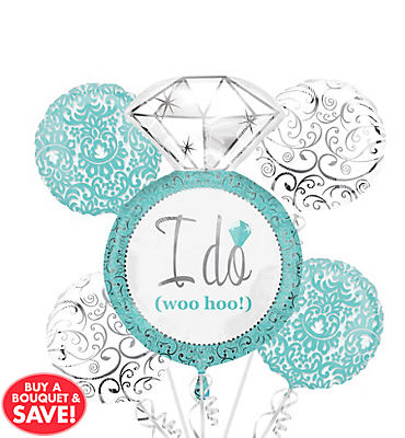 Foil Robin's Egg Blue Bridal Shower Balloon Bouquet 5pc