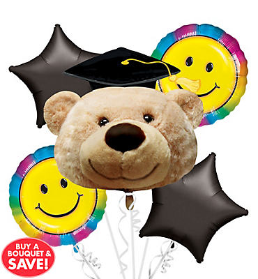 Foil Grad Bear Graduation Balloon Bouquet 5pc