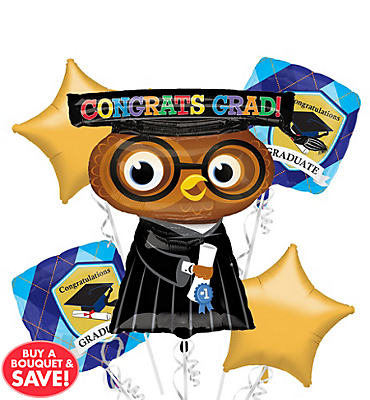 Foil Congrats Grad Owl Graduation Balloon Bouquet 5pc